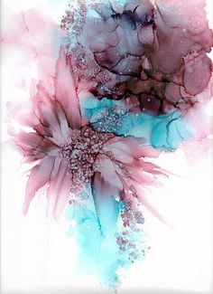 Il s'agit d'une peinture originale. Une de ma collection de fleurs. J'aime les fleurs et toutes les combinaisons dans les encres alcool, il y a beaucoup dentre eux, donc ma collection Floral est très lumineuse et chaque tableau est différent et unique. L'alcool des encres sur papier