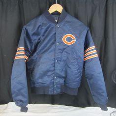 Vintage Starter NFL Chicago Bears Blue Satin Bomber Jacket Coat Size M   Starter  ChicagoBears fda8cf66a