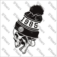 Retro Skull Hat 1985 Template  svg cdr ai pdf files  by DYours