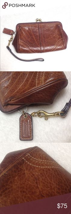 Authentic coach leather wristlet Beautiful, clean, shiny leather on a firm clamshell wristlet. A classic feminine country look. I have carried it and loved it and find it a bit small for my needs now.  Only flaw is a small pen mark (shown in the 3rd photo). The inside is very clean cotton lined. Offers are welcome  Coach Bags Clutches & Wristlets