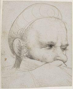 Hans Holbein den Ældre,  Hovedet af en armbrøstskytte, der tager sigte (Augsburg, 1514-15, Statens Museum for Kunst, København).