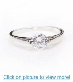 Fashion Plaza 18k White Gold Plated Use Swarovski Crystal Wedding Ring R61