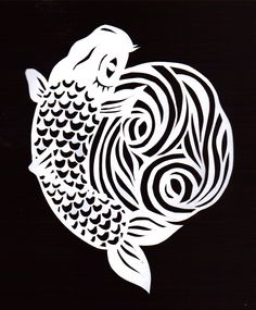 Hand cut stencil of a Koi Fish for a piece of coursework! Find the blog at: http://elmerchant.blogspot.co.uk/2013/02/stencil-session.html