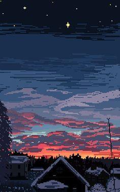 pixel scenery — wizardries: January Nightfall by wizardriesx Phone Backgrounds, Wallpaper Backgrounds, Iphone Wallpaper, Tumblr Wallpaper, Pixel Art Gif, Arte 8 Bits, 8 Bit Art, Psychedelic Art, Vaporwave