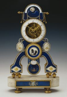 Skeleton Clock Royal Collection  Dieudonné Kinable (active 1780-1825) (clockmaker) Materials: Enamel, marble, gilt metal courtesy The Royal Collection Trust - See more at: http://www.thecultureconcept.com/circle/french-clocks-science-keeping-time-with-enlightenment-pt-2#sthash.DUvXzQSh.dpuf