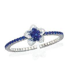 Cellini Jewelers Briolette Blossom Collection. Blue Sapphire Flower Briolette Bracelet