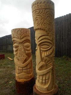 Practice Makes Progress (Have A Great Day) Laz - Tiki Central Tiki Hawaii, Hawaiian Tiki, Tree Carving, Wood Carving, Tiki Art, Tiki Tiki, Tiki Maske, Tiki Pole, Tiki Head