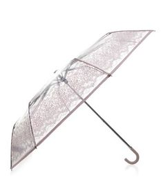 Shell Pink Lace Print Transparent Umbrella