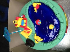 Lego pool party cake from the top