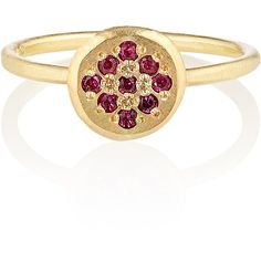 Women's Yellow Gold Ring by Shakti Ellenwood 18kt Fairtrade Ruby... ($1,585) ❤ liked on Polyvore featuring jewelry, rings, gold ruby ring, 18k gold jewelry, 18k gold ring, hammered gold ring and 18k ring