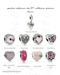 Pandora Valentine's 2017 Charms  Love script, lace heart, and incased in love are my faves