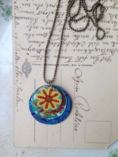 """Tin Jewelry Necklace """"Layered Discs"""" Tin for the Ten Year Tenth Anniversary"""