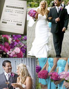 Turquoise fuschia wedding by Wedding Themes, Wedding Events, Wedding Styles, Wedding Decorations, Wedding Ideas, Weddings, Peacock Wedding Flowers, Fuschia Wedding, Wedding Colors