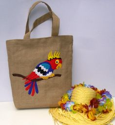 Handmade summer  jute Tote bag red blue parrot    by Apopsis
