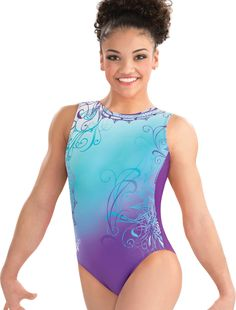 I love the transition of color from blue to purple on this gymnastic leotard. My niece is just starting gymnastics, so I thought that I would get her a present. I will have to find her a leotard like this one since her favorite colors are blue and purple.