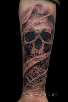 Skull Tattoo Design on Forearm.What a cool tattoo design idea! Love it very much! This will be my next tattoo design. via http://forcreativejuice.com/awesome-forearm-tattoo-designs/