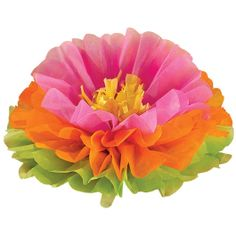 See what fun blooms at your luau party with this beautiful decoration. The Fluffy Hibiscus Decoration can be used as a hanging decoration to add the style of the isle to your luau party room or as a fantastic floral centerpiece. The layers of hot pink, orange, and lime paper continue the island vibe of your summer party. The package contains 3 decorations, each measures 16 inches in diameter.<br />
