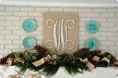 glittered monogram on burlap covered canvas