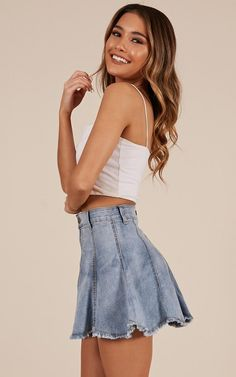 Just A Thought Denim Skirt In Light Wash Produced Jean Skirt Outfits, Casual Skirt Outfits, Casual Dresses, Cute Outfits, Girly Outfits, Tulip Dress, Mexican Dresses, Poses, Ladies Dress Design