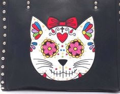 Sugar Skull~Day of the Dead~Cat~Tote~Shoulder Bag~Purse~Embroidery~Tattoo~Punk #Unbranded #TotesShoppers