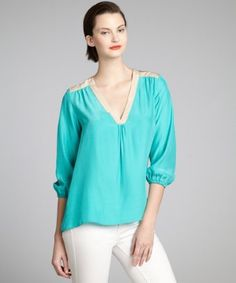 NELL AQUA AND NUDE SILK THREE QUARTER SLEEVE 'JOEY' BLOUSE  #lusthave
