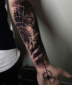 Portrait and spider web forearm tattoo - 110 Awesome Forearm Tattoos <3 <3