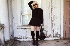 Zero Uv Sunglasses, Mango Velvet Ribbon Blouse, Ebay Tennis Skirt, H&M Over Knee Socks, Dr. Martens Jadon Boots
