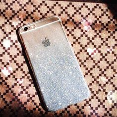 Silver Ombre Glitters Handmade Sparkle Fading Transparent Silver Gitters Phone Case 5/5s/6/6s plus for iPhone & Samsung s5/s6 edge+ Clear by HandmadebyTran on Etsy https://www.etsy.com/listing/251903630/silver-ombre-glitters-handmade-sparkle