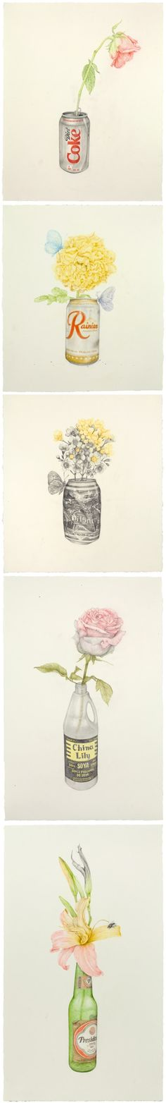 "These amazing drawings are the work of New York based artist Aurel Schmidt. They are part of a series titled, Reveries Of A Lost Life Mask in which she pairs images with the poetry of American poet Franz Wright. I love their simplicity… so beautiful, yet so mundane. They are meant to be ""a reminder of our own vulnerability and mortality"". Well, it worked… AND, I'm pretty sure I'll never drink Diet Coke ever again {poor wilty rose!}"
