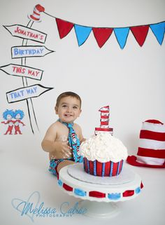 Melissa Calise Photography (1st First Birthday Cake Smash Dr. Seuss Cat in the Hat Red Blue Baby Boy Photoshoot Posing Ideas)