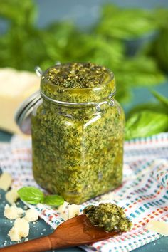 The Very BEST Basil Pesto sauce you'll ever make, ready in minutes and made with fresh, whole ingredients. This is the Basil Pesto recipe of your dreams. Freezer Friendly, too! | @suburbansoapbox TheSuburbanSoapbox.com #basil #Pesto #recipe #freezermeal #mealprep