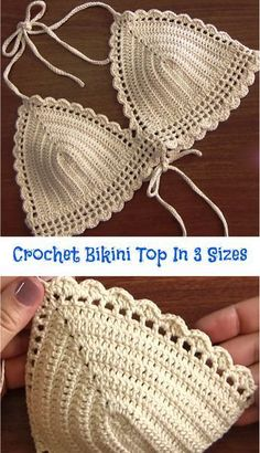 Crochet Bikini Top In 3 Sizes Crochet Bikini Top In 3 Sizes When summer season hits, you want your beach or pool style to stand out. Today we have researched amazing video tutorial about how to crochet fashionable bikini top, w… Motif Bikini Crochet, Débardeurs Au Crochet, Poncho Crochet, Bikinis Crochet, Crochet Gifts, Free Crochet, Crochet Summer, Crochet Style, Hand Crochet