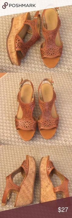 Franco Sarto Leather Cutout Wedges - Size 7 3 inch cork wedges. 1.5 inch platform. In great condition. Durable leather and the shoes are INCREDIBLY comfortable. Yes, they are more comfortable than some of my flats and sneakers! Franco Sarto Shoes Sandals