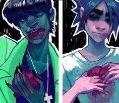 art blood Fanart gorillaz 2D organs murdoc niccals stuart tusspot Muds did 2d ever get his organs back?