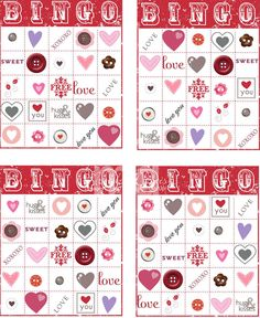 Bingo Cards free printable activity for kids and toddlers on Valentine's Day