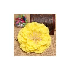 Bridal Headpieces Fabric Peony Flower Hair clips Corsage Brooch ($3.86) ❤ liked on Polyvore featuring accessories, hair accessories, yellow, flower hair accessories, yellow hair accessories, yellow flower hair accessories, flower corsage and bridal flower hair clip