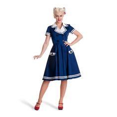 Vestito rockabilly alla marinara - Stile anni 50 - Look pin-up rock`n roll -