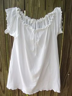 DIY Peasant top from a plain white t-shirt (could use any color).