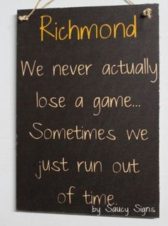 Richmond Never Lose Footy Sign - Bar Shed Man Cave Tigers Office Rustic Wooden Richmond Afl, Richmond Football Club, Bar Shed, Cute Signs, Just Run, Bar Signs, Great Quotes, Tigers, Man Cave