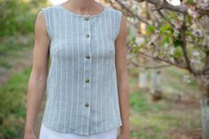 Perfect for the summer weather ,this top will be your favourite wear. It's a sleeveless button up top with a loose fitted flare shape. Button Up, Flare, Weather, Summer, How To Wear, Tops, Women, Fashion, Moda