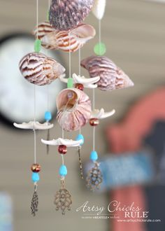 DIY Seashell Wind Chime - with Beads and Shells - #windchime artsychicksrule.com