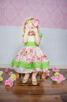 Peach and Green Ruffle Top, Headband and Pant Set- 3pc