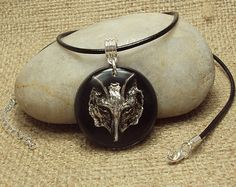 Wolf or Fox Pendant Resin Black Leather Thong by JustKJewellery, £15.00