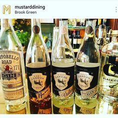 Hey @mustarddining we agree that this is a lovely lineup! @portobelloroadgin @eastlondonliquorcompany @blackcowvodka Great design!! #aiab2017 #vodka #gin