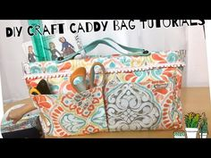 Diy craft bag, Craft Caddy tutorials/ Sewing project - Watch Video - Diy And Crafts Easy Sewing Projects, Sewing Projects For Beginners, Sewing Hacks, Sewing Crafts, Diy Crafts, Art Projects, Makeup Bag Tutorials, Craft Tutorials, Sewing Tutorials