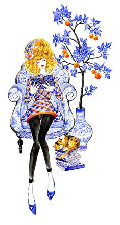 Sunny Gu is a Los Angeles based illustrator, Her illustrations are always full of vibrant colors, rich details and delightful feelings, that brings joy to whoever looks at it. Beauty Illustration, Line Illustration, Watercolor Illustration, Fashion Design Sketchbook, Fashion Sketches, Fashion Illustrations, Fashion Art, Fashion Beauty, National Cat Day