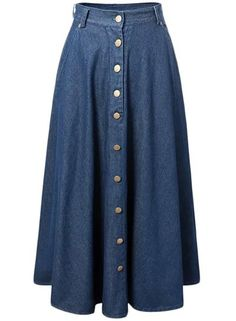 Women's Fashion Button Front Pleated Maxi Denim Skirt AZBRO.com
