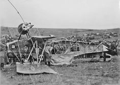This is the Fokker D.VII of the German pilot Marwede of Jasta 67 who shot down a US observation balloon but whose plane was also hit and he was forced to land.
