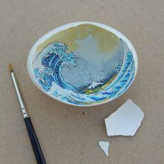 Egg Shell Art: Büyük Dalga/Great Wave, Katsushika Hokusai 🎨