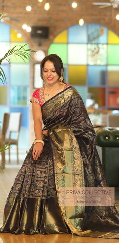 Want to know how to style your traditional black sarees in most perfect way? Do check out these inspiring sarees styles. Indian Sarees, Silk Sarees, New Dress Design Indian, Saree Blouse, Sari, Saree With Belt, Set Saree, House Of Blouse, New Designer Dresses